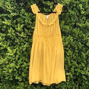 Anthro Floreat Golden/yellow 100% silk dress